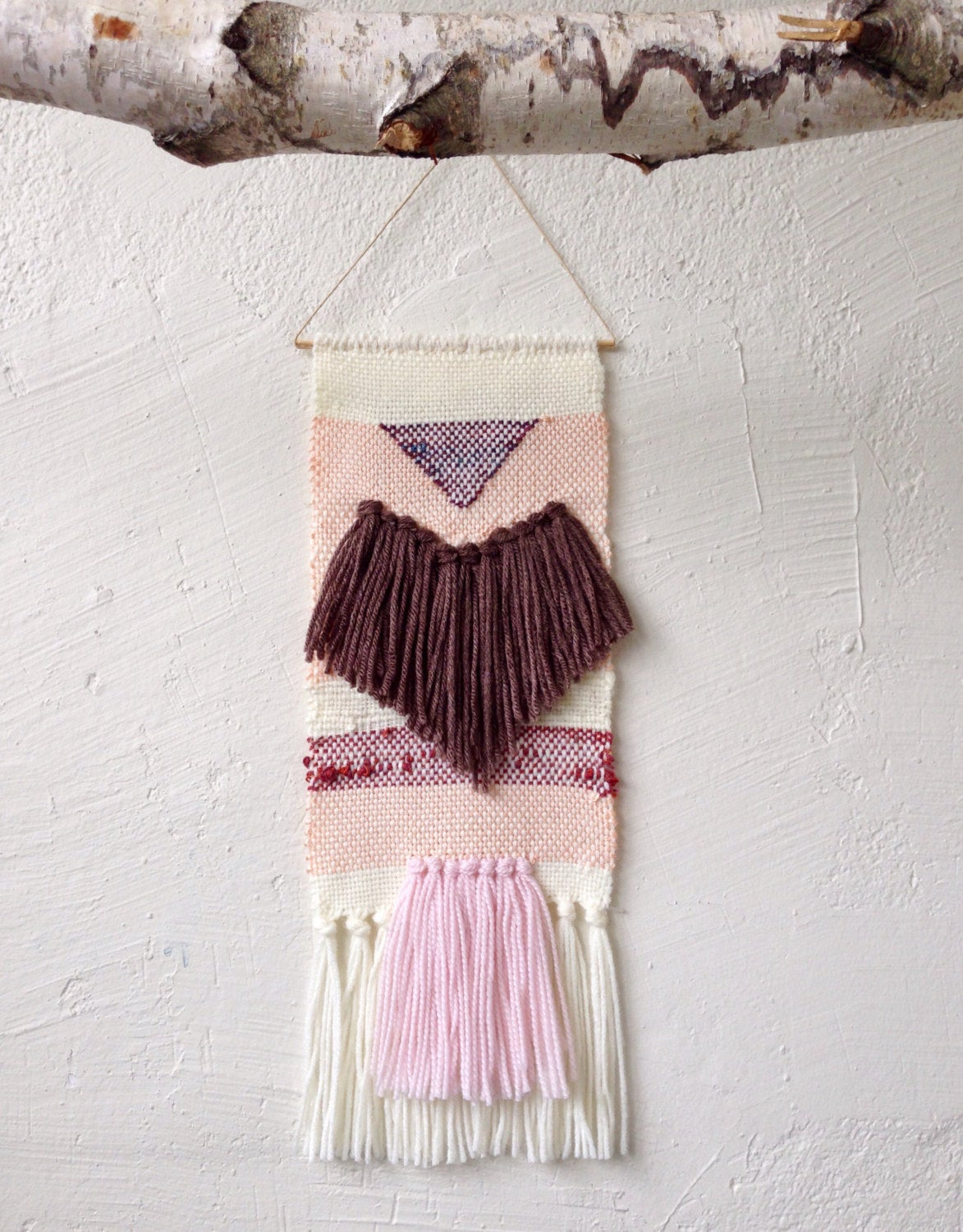 Plum Fringe and Pastel Pink Woven Wall Hanging Weaving