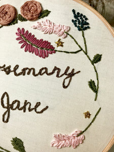 Floral Custom Quote/Baby Name Embroidery Wall Hanging