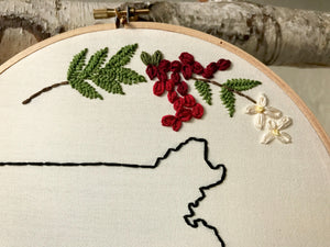 State Outline Embroidery Floral Wall Hanging