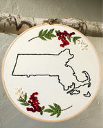 Load image into Gallery viewer, State Outline Embroidery Floral Wall Hanging