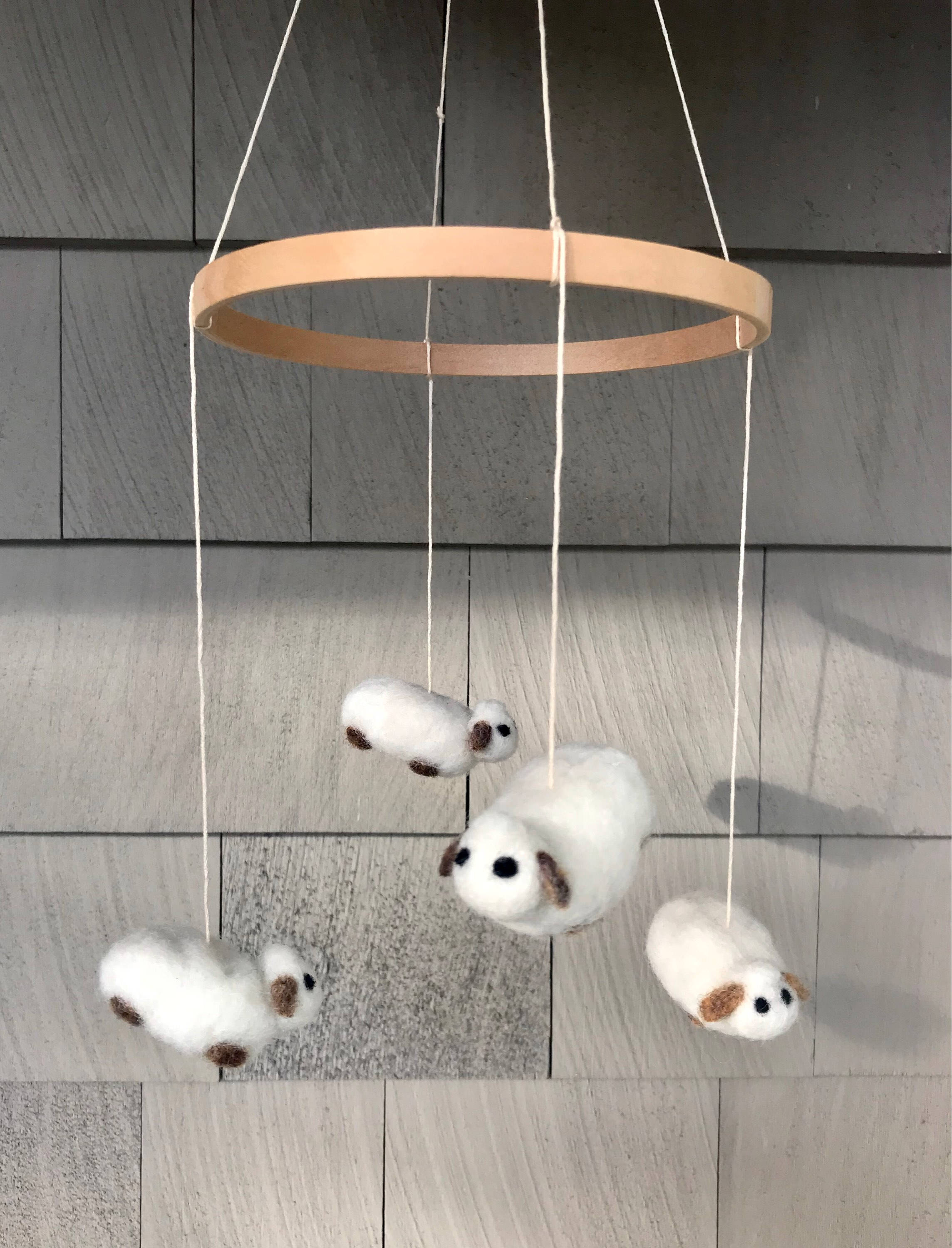 Needle Felted Animal Baby Nursery Mobile • Infant Bedroom Baby Shower Hanging Decoration