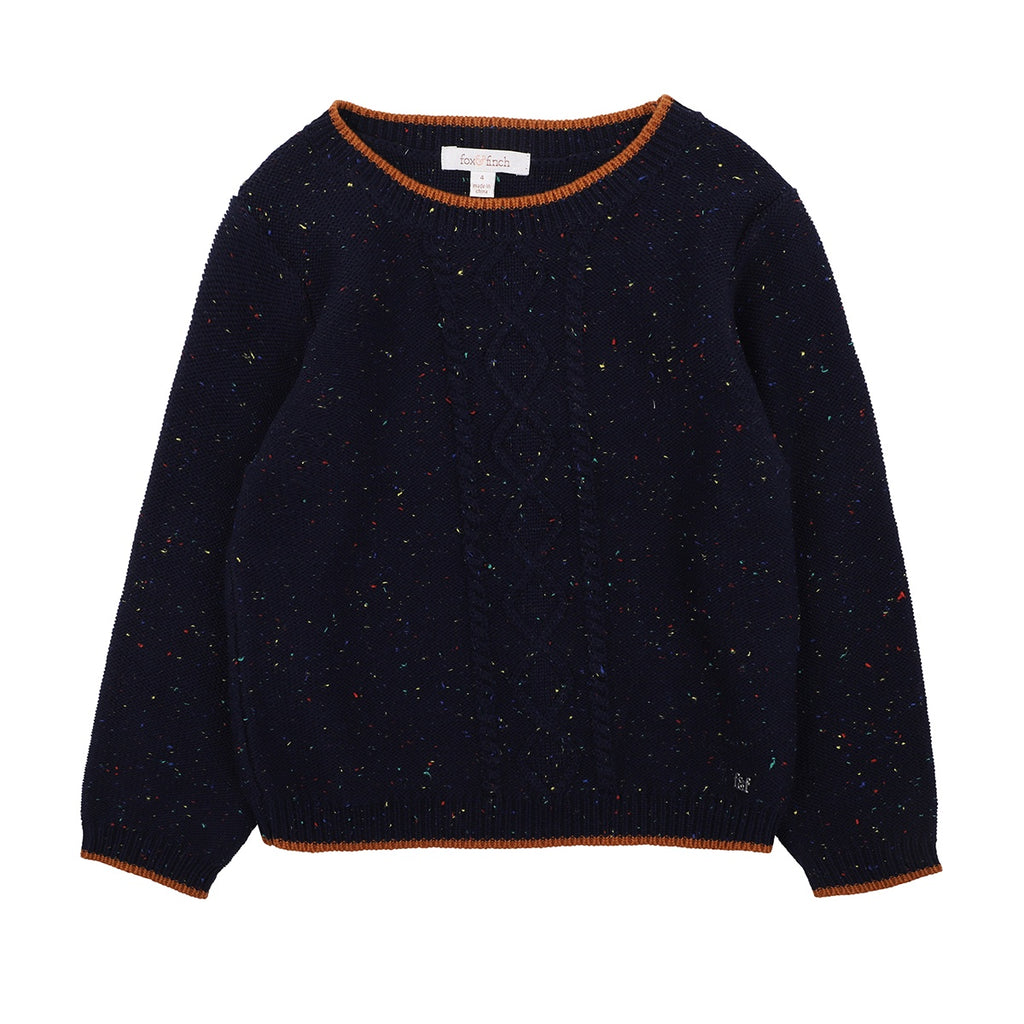 THE WOOD CABLE JUMPER - NAVY