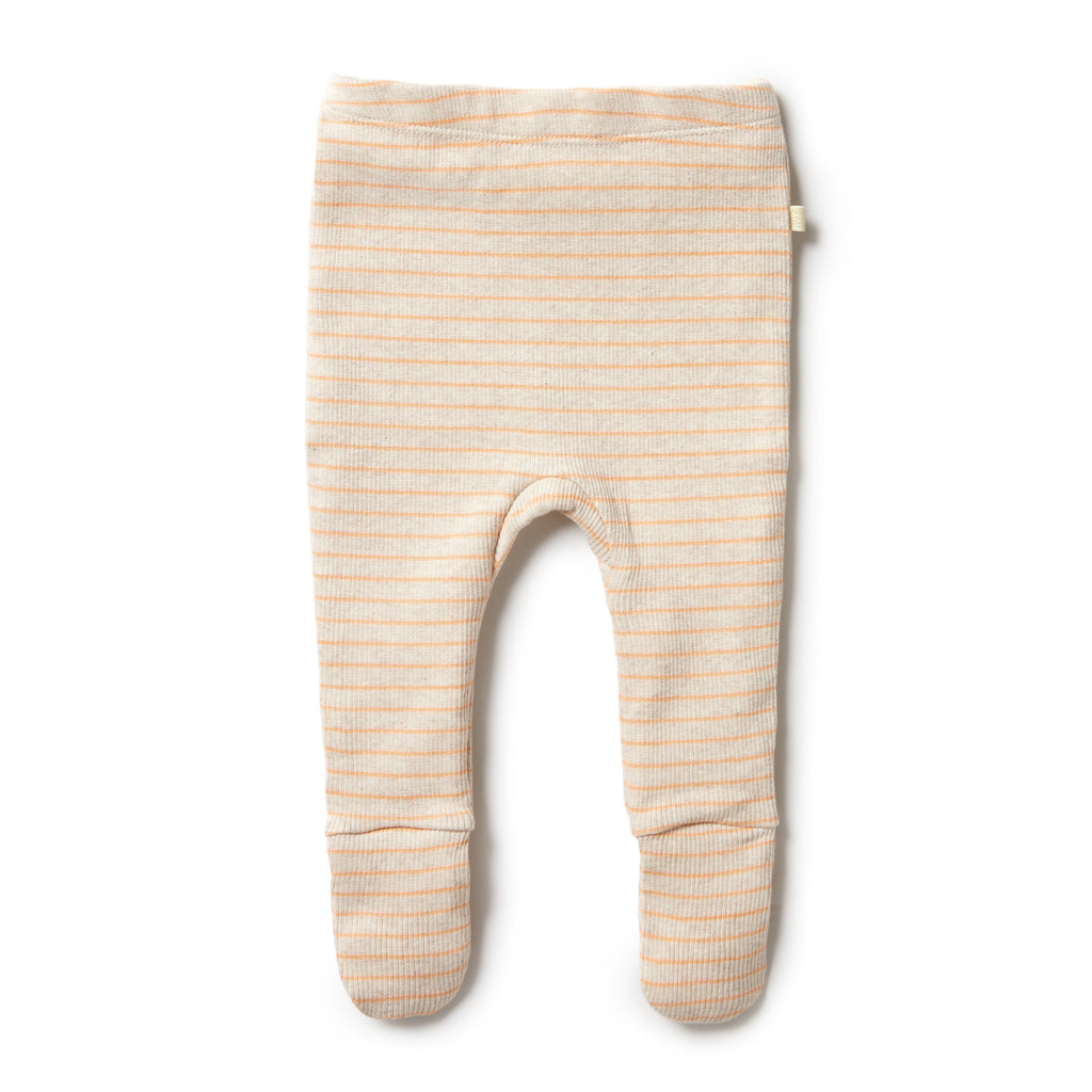 ORGANIC STRIPE RIB FOOTED LEGGING - APRICOT