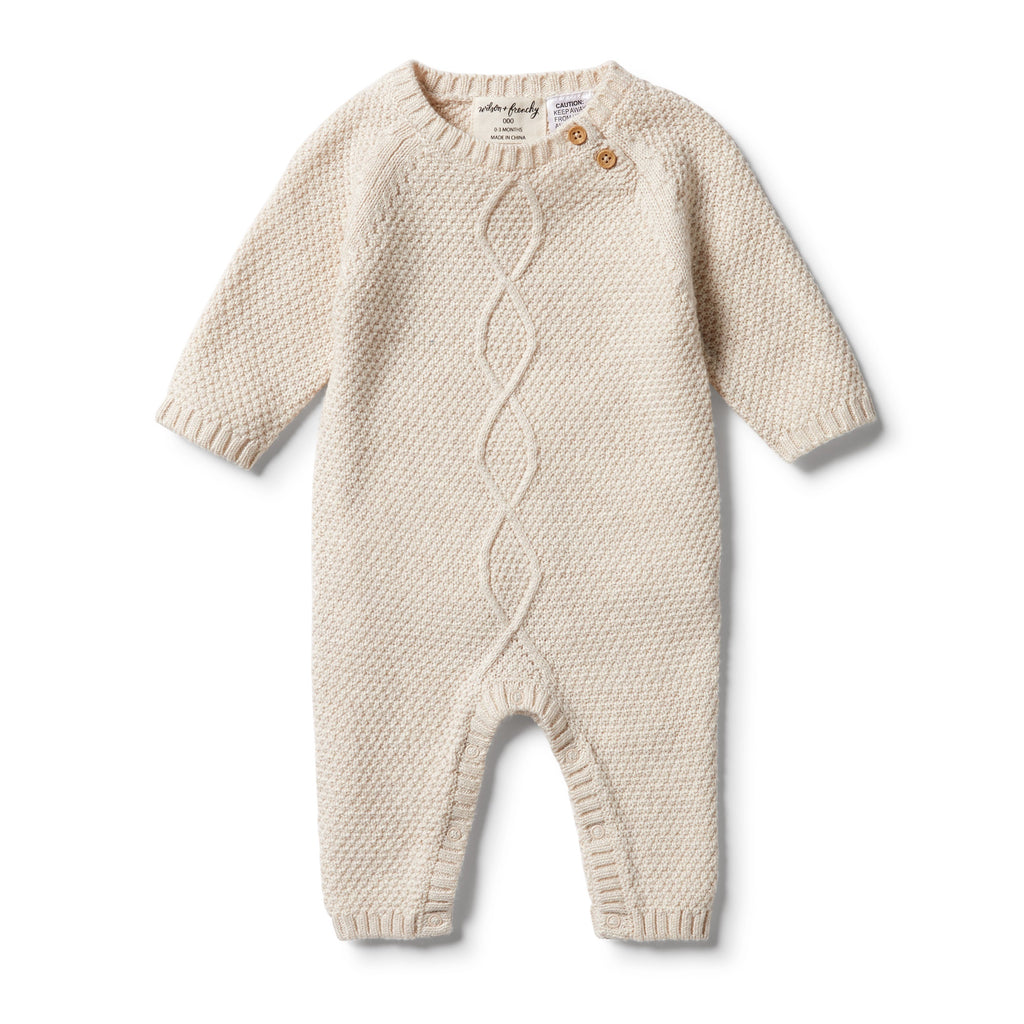 KNITTED CABLE GROWSUIT - OATMEAL MELANGE