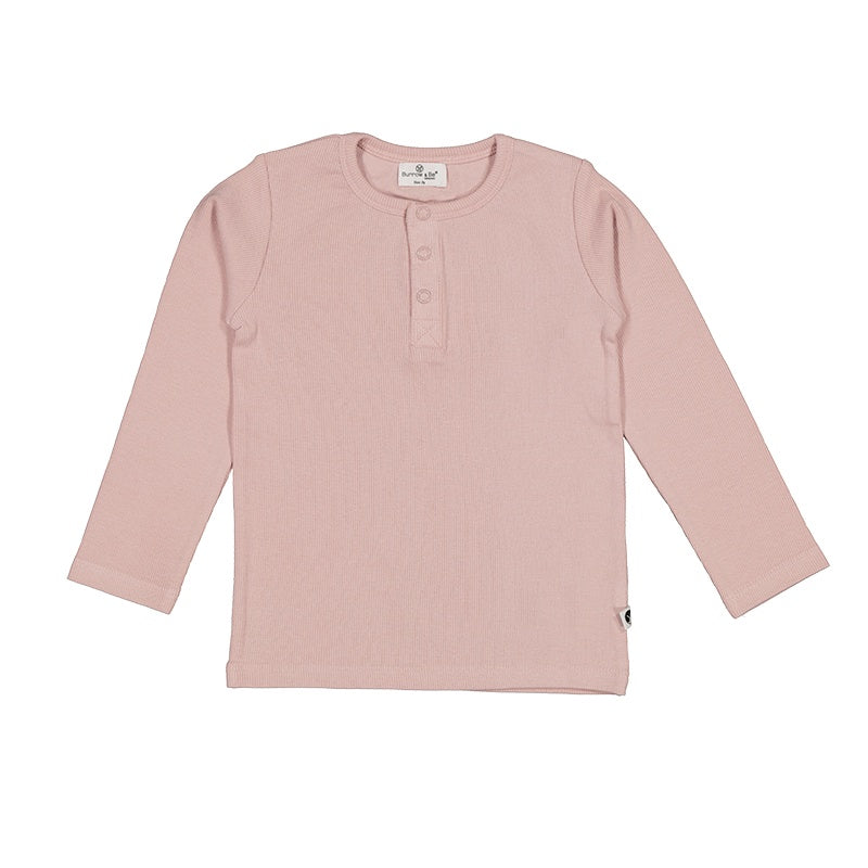 LONG SLEEVE HENLEY RIB TOP - DUSTY ROSE