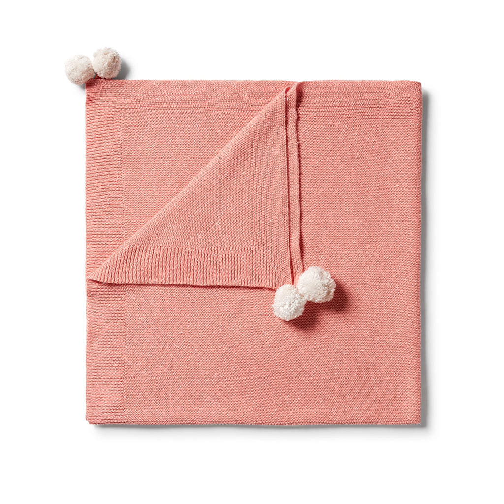 KNITTED JACQUARD BLANKET - FLAMINGO FLECK