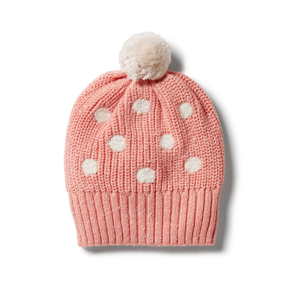 KNITTED SPOT HAT - FLAMINGO FLECK