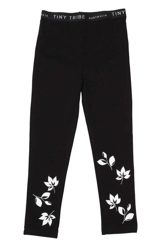 FALLING LEAVES LEGGING - BLACK