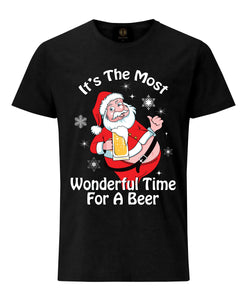Christmas T-Shirt Santa It's Time For A Beer- Black