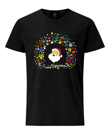 Christmas T-Shirt with Santa Face- Black
