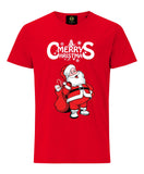 Merry Christmas Santa With Gifts T-Shirt- Red