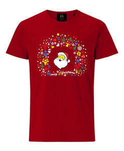 Christmas Santa & Gift Icons T-Shirt- Red