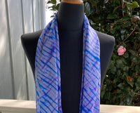 Silk Shibori Scarf in Lavender, White and Blues