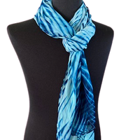 Silk Shibori Wrap in Turquoise and Blue