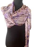 Silk Shibori Wrap in Lavender, White and Brown