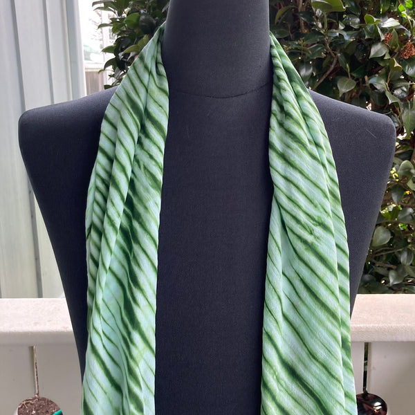 Silk Shibori Scarf in Forest Green