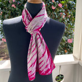 Silk Shibori Scarf in Very Pale Green and Magenta