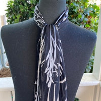 Devore Silk & Rayon Scarf in Black and White