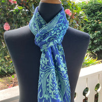 Devore Silk & Rayon Scarf in Medium Blue and Green