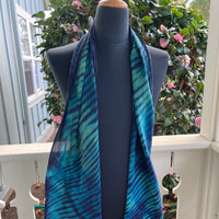 Silk Shibori Scarf in Navy Blue and Green