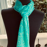 Devore Silk & Rayon Scarf in Turquoise and Green