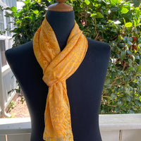 Devore Silk & Rayon Scarf in Golden Yellow