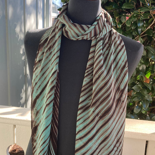 Silk Shibori Scarf in Mint Green and Brown with 3 Stripes