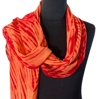 Silk Shibori Wrap in Red and Orange