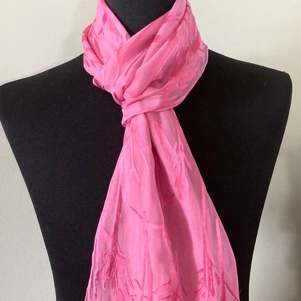 Devore Silk & Rayon Scarf in Pink on Pink