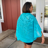 Devore Silk & Rayon Shrug In Turquoise