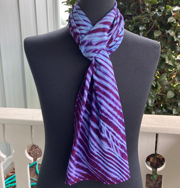 Silk Shibori Scarf in Turquoise and Red-Violet