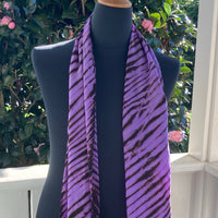 Silk Shibori Scarf in Purple and Brown