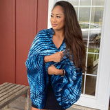 Shibori Silk & Wool Shrug in Blue and White