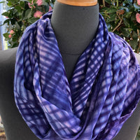 Shibori Rayon Infinity Scarf in Shades of Navy Blue