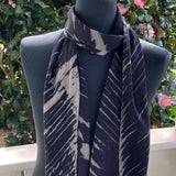 Silk Shibori Scarf in Black and Beige