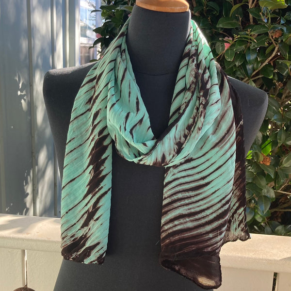 Silk Shibori Scarf in Green and Brown