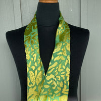 Devore Silk & Rayon Scarf in Bright Green and Yellow