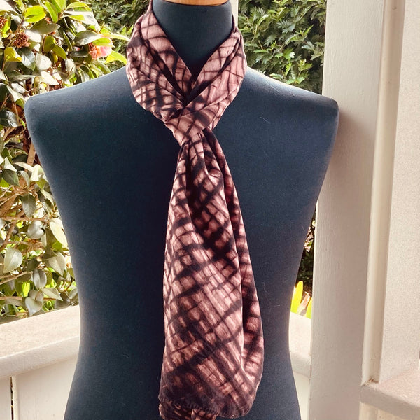 Silk Shibori Scarf in Salmon & Dark Brown
