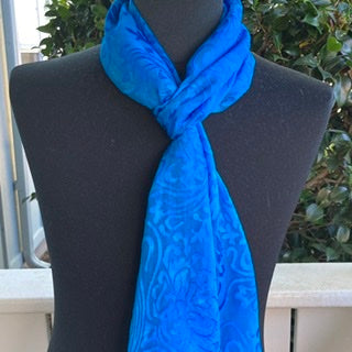 Devore Silk & Rayon Scarf in Brilliant Blue