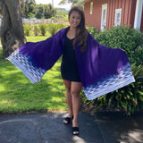 Ohe Kapala Rayon Wrap in and Dark Purple and White