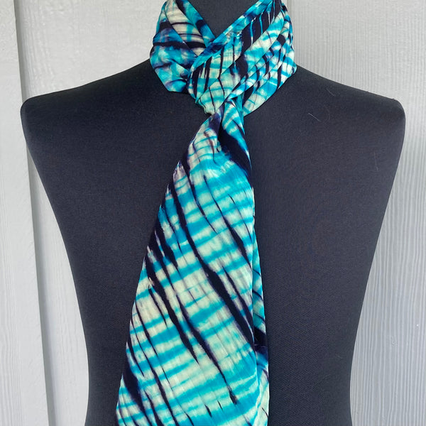 Silk Shibori Scarf in Turquoise, Green & Dark Purple