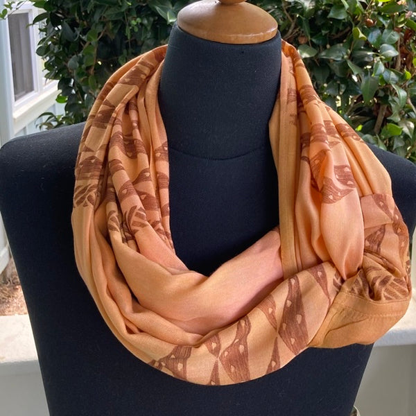 Ohe Kapala Rayon Infinity Scarf in Pinkish Golden Yellow