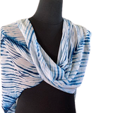 Silk Shibori Wrap in Blue and White