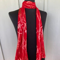 Devore Silk & Rayon Scarf in Red and Brown
