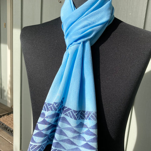 Ohe Kapala Silk Crepe Scarf in Light Blue