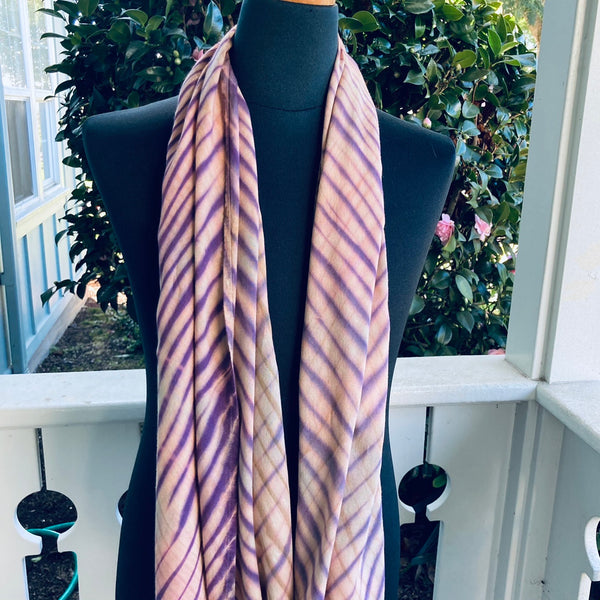 Shibori Rayon Infinity Scarf in Tan, Brown and Purple
