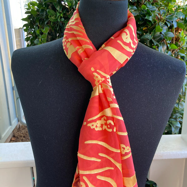 Devore Silk & Rayon Scarf in Orange and Yellow