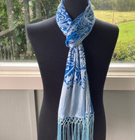 Devore Scarf with Fringe in Blue and Silver