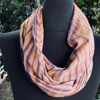 Shibori Rayon Infinity Scarf in Tan, Purple and Sage