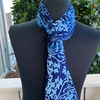 Devore Silk & Rayon Scarf in Navy and Turquoise